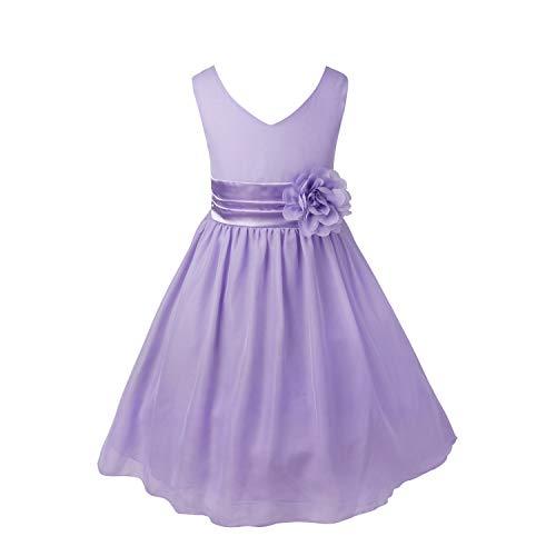 id Blumen-Mädchen Kleider Kinder Festlich Kinderkleid Hochzeit Kleid Partykleid Kleidung Freizeit Kommunionkleid Lavendel 116 ()