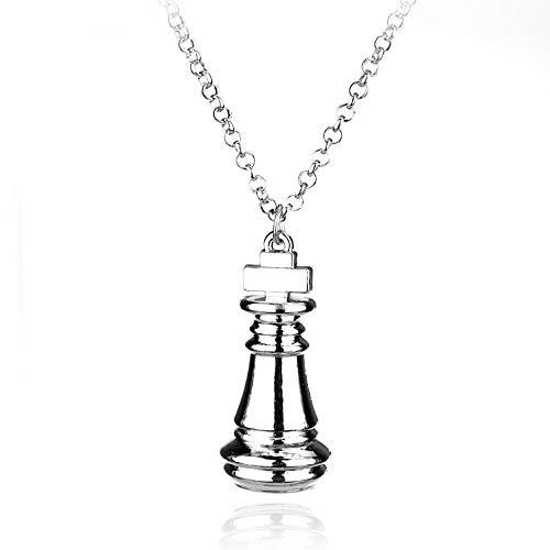 HUALQ Collar Colgante con Cadena - Joyería Ajedrez de plata