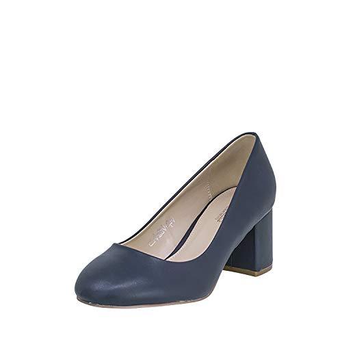 Fitters Footwear That Fits Donne Pompe Sesy Finta Pelle Décolleté con Tacco a Blocco (45 EU, Blu Scuro)