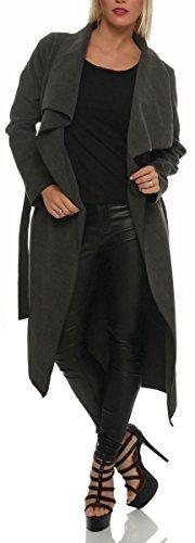 malito elegante lungo Cappotti con Cascata-Design Nobilmente Gilet Giacca Bolero Pulsanti Cape Cardigan Oversize Maglione Casual Basic 3030 Donna Taglia Unica (grigio)
