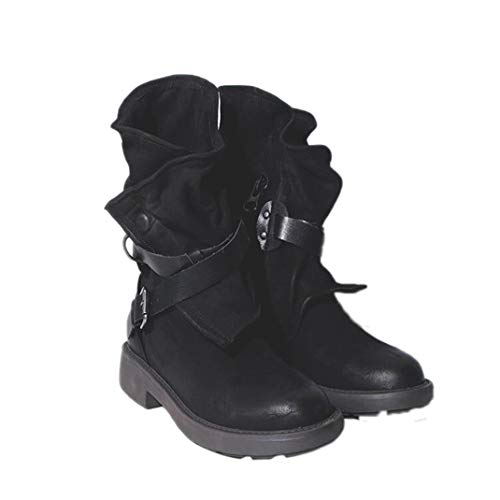 Stivaletti Fashion Vintage Mid Vitello Stivali da Moto Molle Comodo di Cuoio da Do
