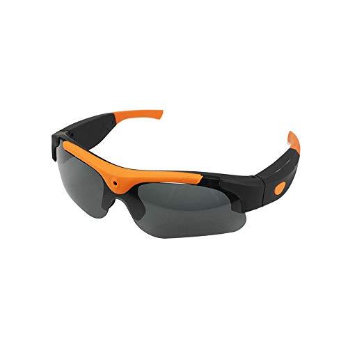 Douerye Kamera Gläser 1080P Brillen-Videorekorder, Sport-Digital Gläser Bergsteiger Reiten Polarisierte Sonnenbrillen HD-Kamera Smart Gläser,Orange,Flatangle