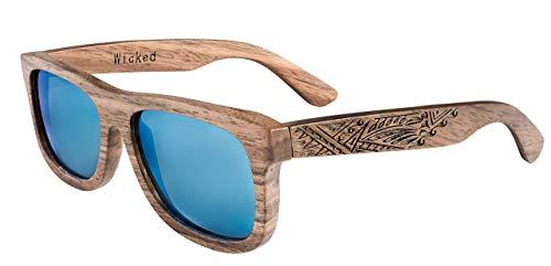 Schwimmende Holz Sonnenbrille aus Echtholz - blau polarisierte Gläser - Wicked Ceres wird aus Walnuss Holz gefertigt - mit eingraviertem Tribal Design - inkl faltbarem Flip Case Etui - Unisex
