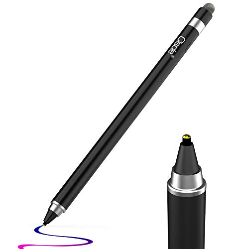 Stylus Stift, Ciscle 2 in 1 Eingabestift: 5-Minuten Auto Power Off und Faser Spitze, Kompatibel mit iPad Pro/iPad 2018/iPhone/Samsung -Schwarz Note 2 Stylus