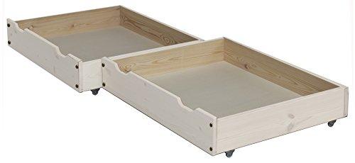 Silenta Bettkasten Rollkasten Bettschublade, 2 Stück, 85 x 71cm, aus Massivholz auf Rollen (weiß) -