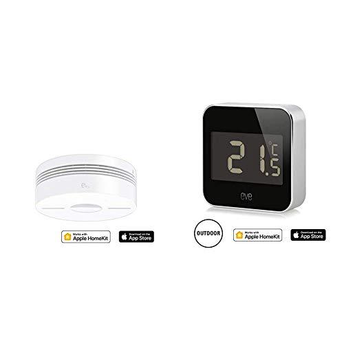 Eve Smoke - Smarter Rauch- & Hitze Dualwarnmelder, Selbstprüfung, 10 J. Batterie & Degree - Smarte Wetterstation (Markenqualität aus DE) zum Überwachen von Temperatur, Luftfeuchtigkeit und Luftdruck