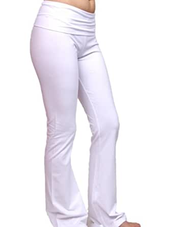 Colours Apparel Crystal Cotton Spandex Jersey Yoga Pant Sport Trouser (Small, White)