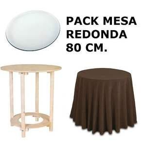 Oko 080685 Pack de Mesa + Tapa + Faldilla, Madera, Pino, 93x93x9 cm