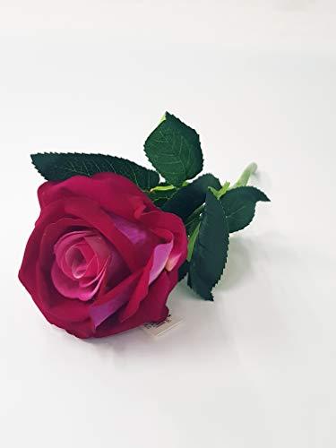 Takestop® rosa artificiale vellutata h 30 cm rose rosse fucsia ramo fiori artificiali colorati finti decorazioni composizione floreale matrimonio feste casa san valentino (fucsia/viola)