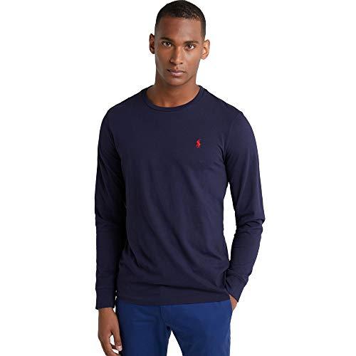 4c3682da6 Ralph Lauren Camiseta de Manga Larga para Hombre Custom Fit (L, Azul Marino)