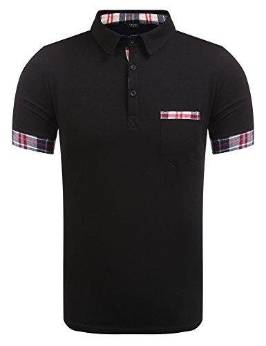 Burlady Poloshirt Herren einfarbiges Kurzarmshirt Sommer T-Shirt Polo Shirt for Men (80-schwarz, XXL)