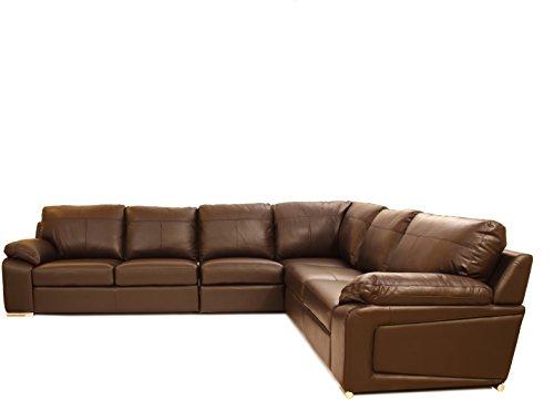 Hometown L-Shaped Three Seater Sofa (Matt Finish, Dark Brown)