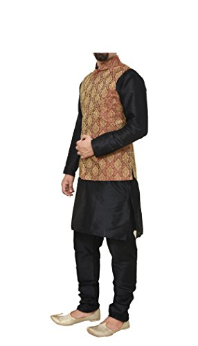 Mag Men's Black Matching silk Kurta Churidhar With Maroon Waistcoat (RG-10388-44)