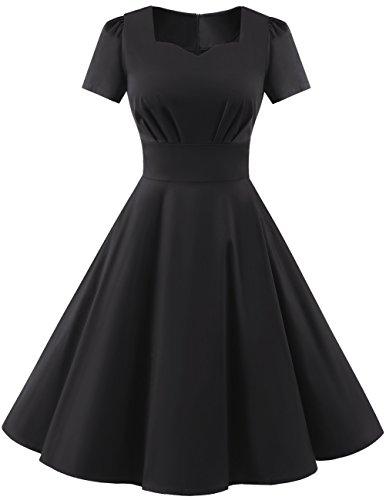 Dresstells Damen Vintage 50er Rockabilly kurzarm Swing Kleider Partykleid Black L (Anlass Besonderen Anlass Kleid)