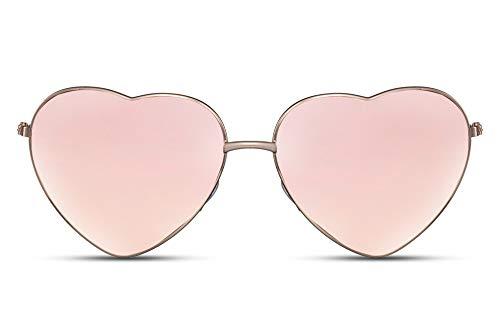Cheapass Sunglasses Sonnenbrille Metall herzförmige Fassung Goldene Rahmen mit rosa verspiegelten Gläsern UV400 geschützt Damen