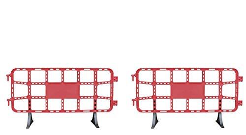 Valla de plástico obra peatonal roja, valla reforzada con patas extraíbles de 2 metros (2- Vallas rojas)