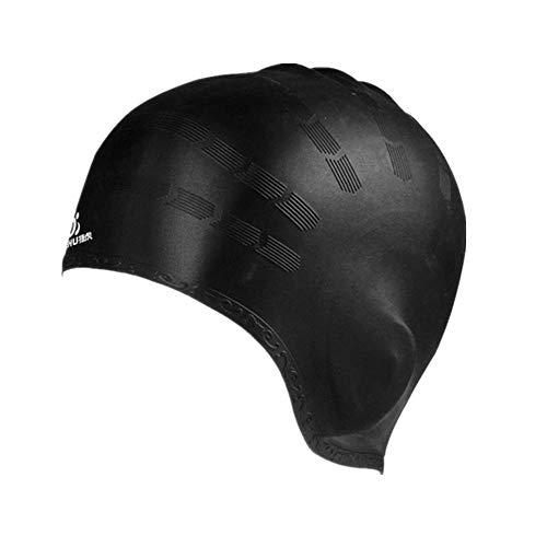 Coolster Unisex Flexible Wasserdichte Silikon Badekappe Erwachsene Waterdrop Schwimmen Kopfabdeckung Schützen Ohr Schwimmen Kappen (schwarz)