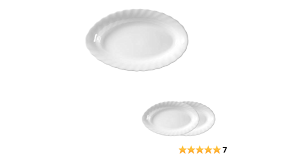 Esmeyer Trianon 441 038 Pack Of 2 White Oval Plates 35 Cm Arcopal Tempered Glass Amazon Co Uk Kitchen Home