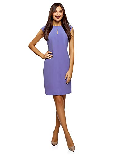 oodji Collection Damen Enges Kleid mit Geformtem Ausschnitt, Blau, DE 36 / EU 38 / S -