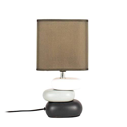 Lampe Galet Hysope Grise En Céramique Et Coton