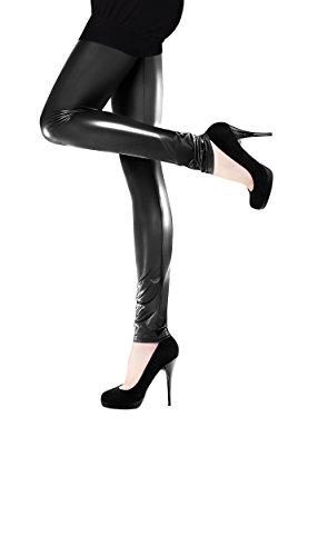 Marilyn Leggings en imitación de cuero mate o brillante, 120Denier Schwarz (nero glänzend) Medium
