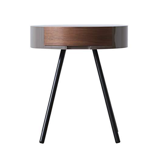 YANGLAN Walnuss-runder Couchtisch/Nachttisch, Einfacher Moderner Schlafzimmer-Massivholz-Computertisch, Hauptspeisetisch (Kleine Leute-tee-garten)