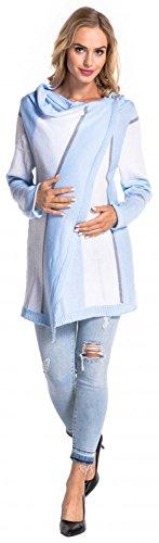 Happy Mama Donna Prémaman Giacca di maglina Cardigan Blazer a cascata 399p Blu e Bianco