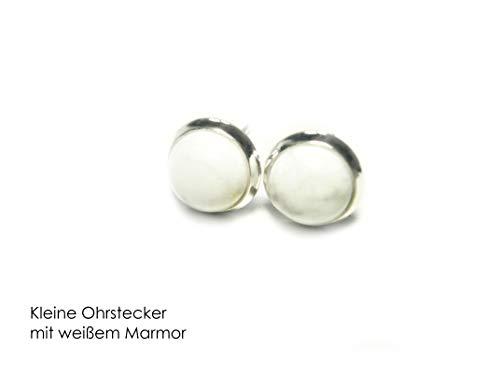 Traditionellen Marmor (Silberne Ohrstecker mit weißem Marmor 8 mm)