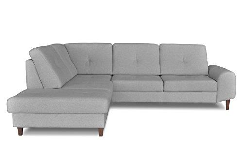 Windsor & Co Gauche Convertible Canapé d'Angle, Tissu, Gris Clair, 265 x 225 x 89 cm