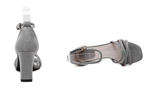 Scrub Chunky tacco alto aprire le dita dei cavigliere Fibbia Rome Casual Elegante Sandali Donne Scarpe UE Taglia 35-39 Grey