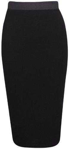 Purple Hanger - Jupe Crayon Stretch Mi Longue Taille Elastique Contrastée Coupe Moulante Couleur unie Noir