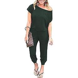 Tooklanet Combinaison Femme Ete Couleur Unie Combishort Chic T Shirt Casual Pantalon Jumpsuit Sexy Playsuit avec Poche pour Soiree