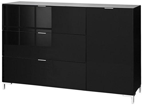 CS Schmalmöbel 45.102.507/036 Highboard Cleo Typ 15, 163 x 50 x 108 cm, schwarz / schwarzglas