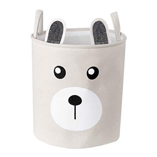Inwagui Groß Aufbewahrungskorb Faltbare Baby Wäschekorb Kinderzimmer Stoff Aufbewahrungsbox LagerungsKorb für Spielzeug Kleidung - Grau Bär