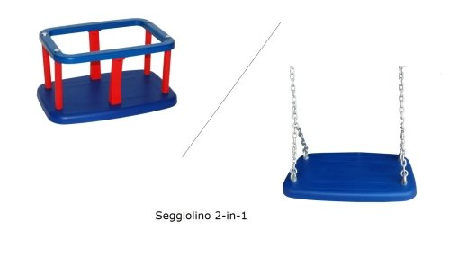 Spilli Outdoor World Sedile Altalena con Gabbia Seggiolino di Gomma 2-in-1 Blu / Rosso/ Blu con Catene