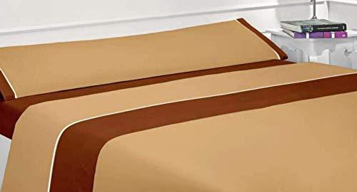 Energy Colors Textil Hogar Excelente 150 - Juego Sábanas Verano Microfibra Super Lisa 3 Piezas - Tacto Soft Cama 150 x 200 cm Fabricado España (Beige)