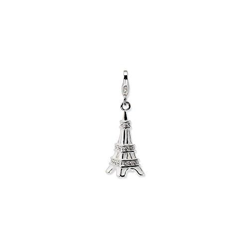 Sterling silver 3-d smalto swarovski torre eiffel w/moschettone fascino