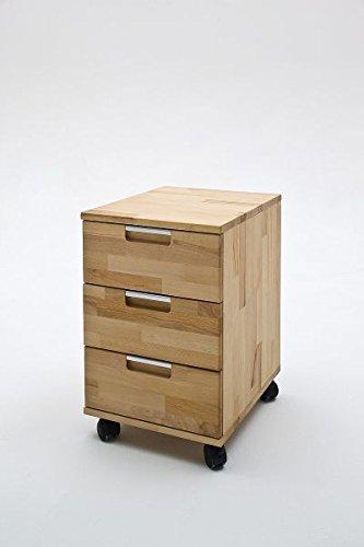 Schreibtischcontainer Rolli Ablage Computertisch MASIMO Rollcontainer, Kernbuche massiv