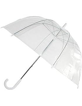 Paraguas transparente con mango y contera blancos