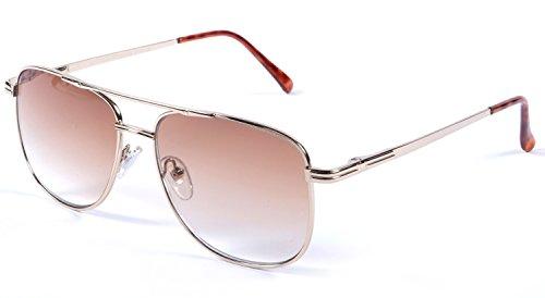 +2.50 Lesung Sonnenbrille Unisex Gold Rahmen Flex Tempel 100% UV-Schutz Leicht Getönte Steigung Braun Linse + Beutel
