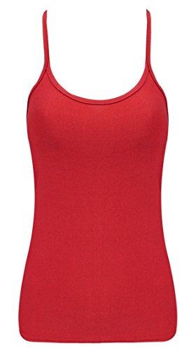Damen Crazy Kostüme Dance (Casual Damen, Rot, Neon, dehnbares Baumwolloberteil für Damen-Tops Dance 80's Kostüm 8, 10, 12, 14 oder 16 Gr. Medium, Rot -)