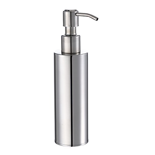 BESy Premium Stainless Steel Liquid Soap & Lotion Dispenser Pump, Round Refillable Soap Hand Dispenser for Kitchen or Bathroom Countertop, Polished Chrome Finish (200 ml)