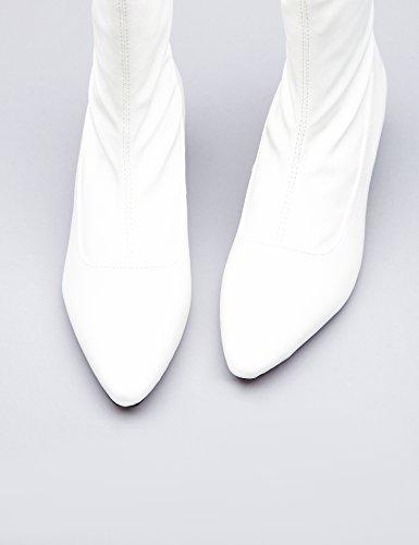FIND Stivaletti Texani Effetto Laminato Donna Bianco (White)