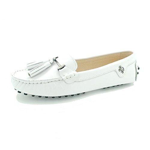 MINITOO ,  Damen Durchgängies Plateau Sandalen mit Keilabsatz, weiß - Leather-White - Größe: 39 1/3