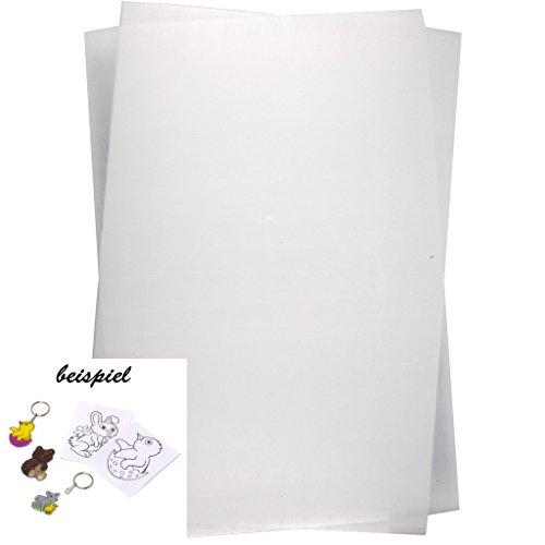 Schrumpffolienplatten, 5 Blatt, Blatt 20x30 cm, Matt Transparent, Deko-Schrumpffolien, Schrumpffolienplatten zum Basteln und für tolle Deko oder Schmuck-Ideen