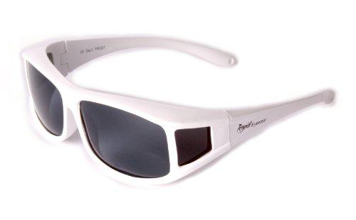 Rapid Eyewear SONNENÜBERBRILLE Polarisiert Weiße Überbrille. Aufstecken Sonnenbrille die über die eigene Brille passt. Für Damen und Herren Brillenträger. Fit-over für Sport etc