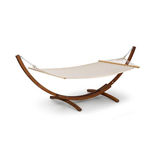 Blumfeldt bali swing • amaca • altalena basculante • struttura in legno di larice • tessuto 65% cotone e 35% poliestere • stylish comfort • capacità massima 160 kg • 200x150 cm • color crema