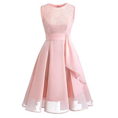Qiusa Womens Formale ärmellose Spitze Kleid Damen Hochzeit Brautjungfer langes Kleid Kleid (Farbe : Rosa, Größe : (Seemann Mädchen Tanz Kostüm)