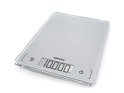 Soehnle Page Comfort 300 slim Digitale Küchenwaage, Gewicht bis zu 10 kg (1-g-genau), rechteckige Haushaltswaage mit Sensor-Touch, elektronische Waage inkl. Batterien, ultraflaches Design, silber Touch 300 Electronic