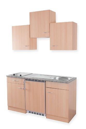Mebasa MEBAKB1500BBC Miniküche, Küchenblock, Singleküche in Buche 150cm inkl. Kühlschrank 114L, Glaskeramik Kochfeld und Edelstahlspüle